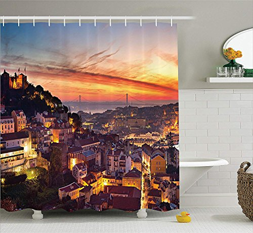 """Fabric Shower Curtain Set Cityscape of Lisbon Portugal Traditional Seaside City Colorful Sky Sunset Evening View Fabric Bathroom Decor with Hooks Long Brown 40""""x70"""""""
