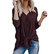 e035404f82a1f Halife Womens Loose Long Sleeve V Neck Button Down Henley Shirts Tie Front  Knit Tunic Blouse