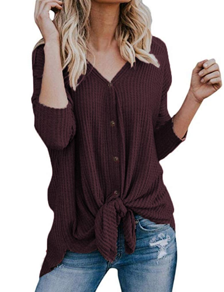 Halife Women's Casual Long Sleeve V Neck Loose Tunic T Shirt Blouse Tops Wine Red,S