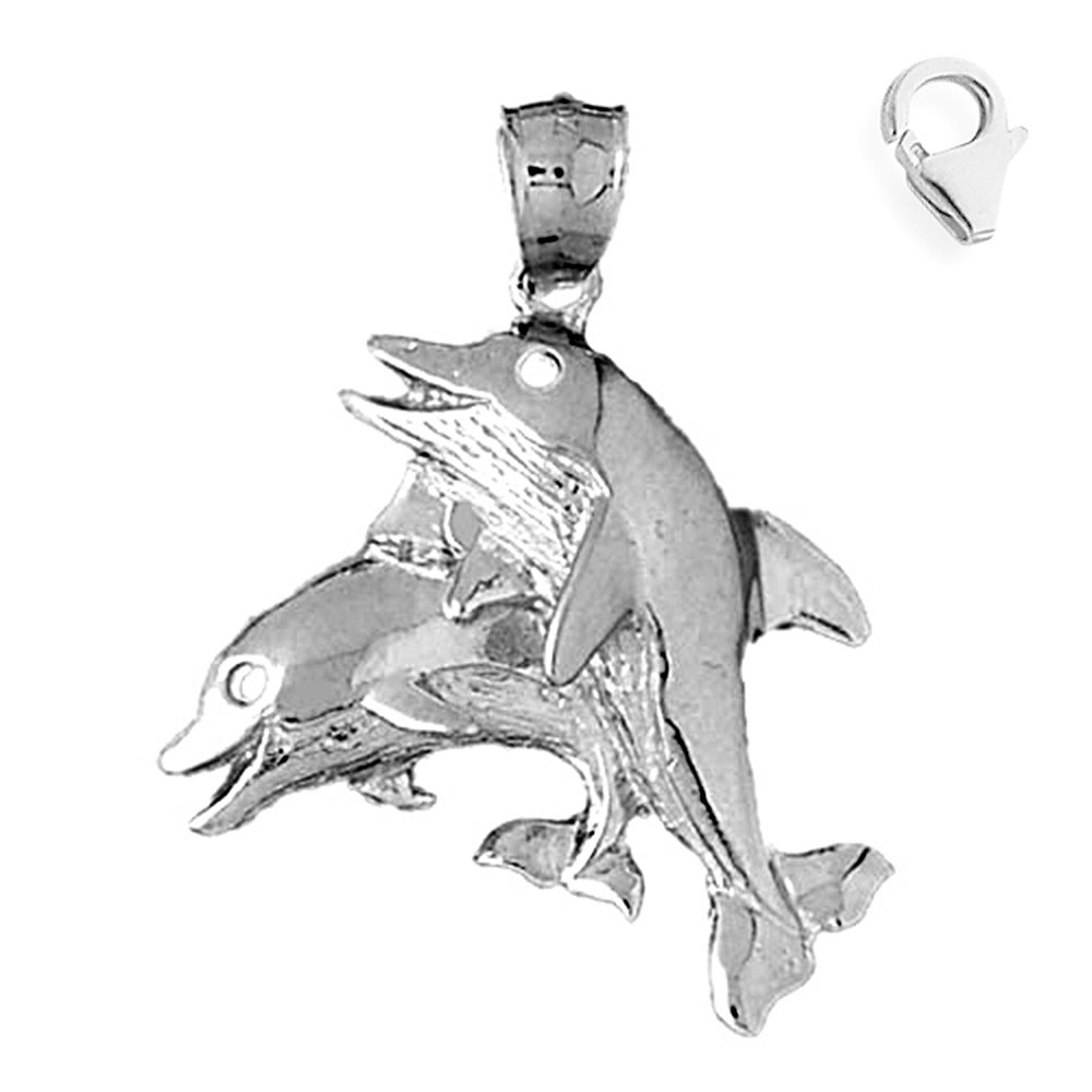 Sterling Silver 31mm Dolphin with 7.5 Charm Bracelet Jewels Obsession Dolphin Pendant