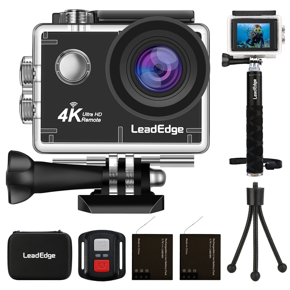 LeadEdge LE6000 Action Camera 4K EIS Anti-Shake WiFi 16MP Sports Cam Waterproof Underwater DV HD 4K/30FPS 1080P/60FPS 30M Diving Remote Control/External MIC/Monopod/Tripod/Carrying Case/2 Batteries