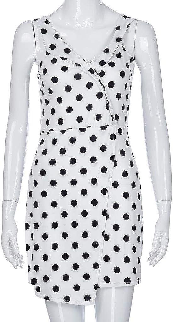 Cliramer Womens Summer Fashion Polka Dot Loose Swing Casual Bohemia Print Midi Vintage Sling Holiday Evening Party Dress