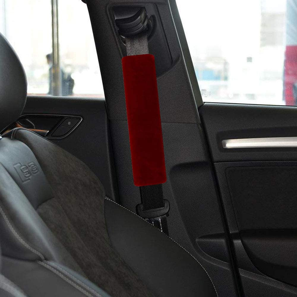 2 x Seat Belt Armrest Shoulders Pads Covers Grey Genuine Suede