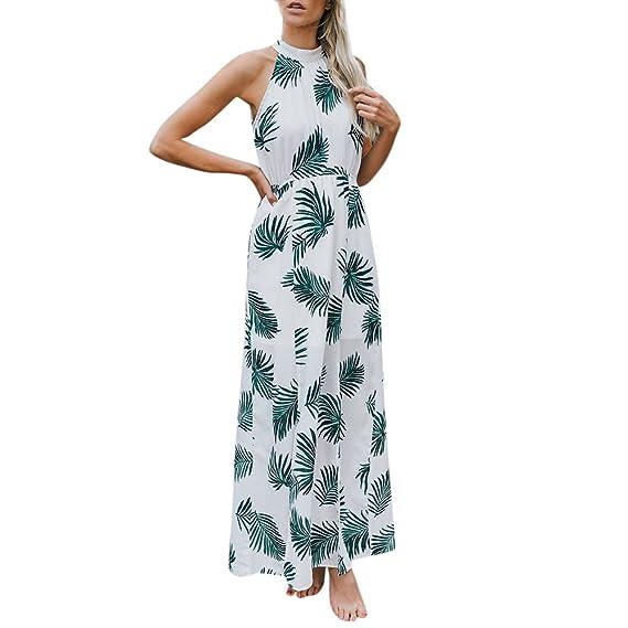 BBestseller Vestidos Largo de Playa de Verano 2018, Sexy Floral Impresión de Vestido sin Mangas con Cordones, de Playa de Moda Vestido Maxi Elegante de ...