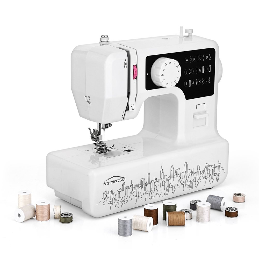 Sewing Machine, Famirosa JG-1602 with 2 Speed 12 Stitches 28pcs Bobbin Sets 32 Spools Foot Pedal Household Sewing Machine for Beginners