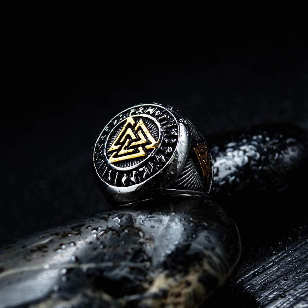 TEMICO Vintage Mens Stainless Steel Valknut Norse Viking Odin Symbol Ring Warrior Signet Biker Band