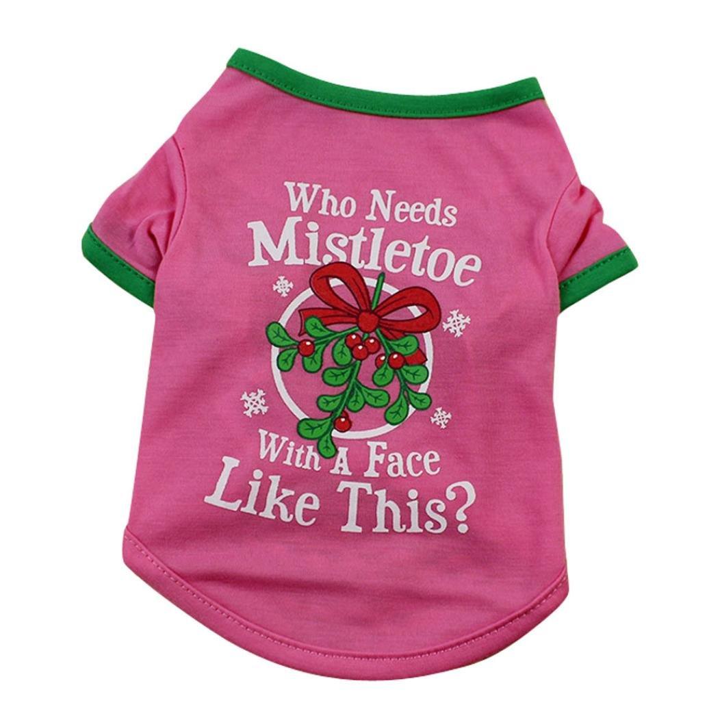 Sumen Christmas Dog T-Shirt Pet Clothes Cute Letter Print Vest (Pink, L)