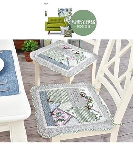 Amazon.com: Juego de 2 cojines de algodón para silla y ...