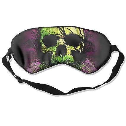 HEHE TAN Verde Cuervo y Calavera máscara de Seda máscara de Dormir máscara de Ojo Sombra