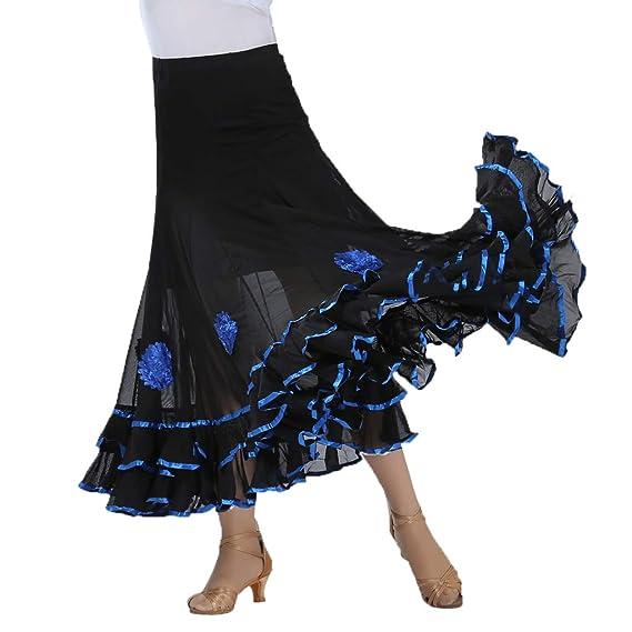 Falda Larga de Baile Mujer de Malla Floral Volante para Flamenco ...