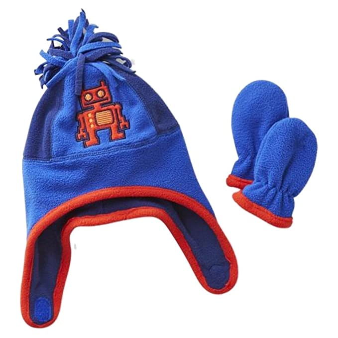 Amazon.com  TOBY Infant Boys Blue Fleece Robot Trapper Hat   Mittens ... 1c0e3c770ea