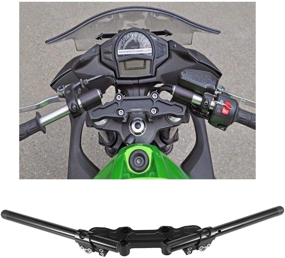 Qiilu Motorcycle Separating Handlebars, Clip-On Adapter Plate & Handlebars Set for Kawasaki Ninja 650R 2006-2011 650 2012-2016 ER-6F 2006-2016