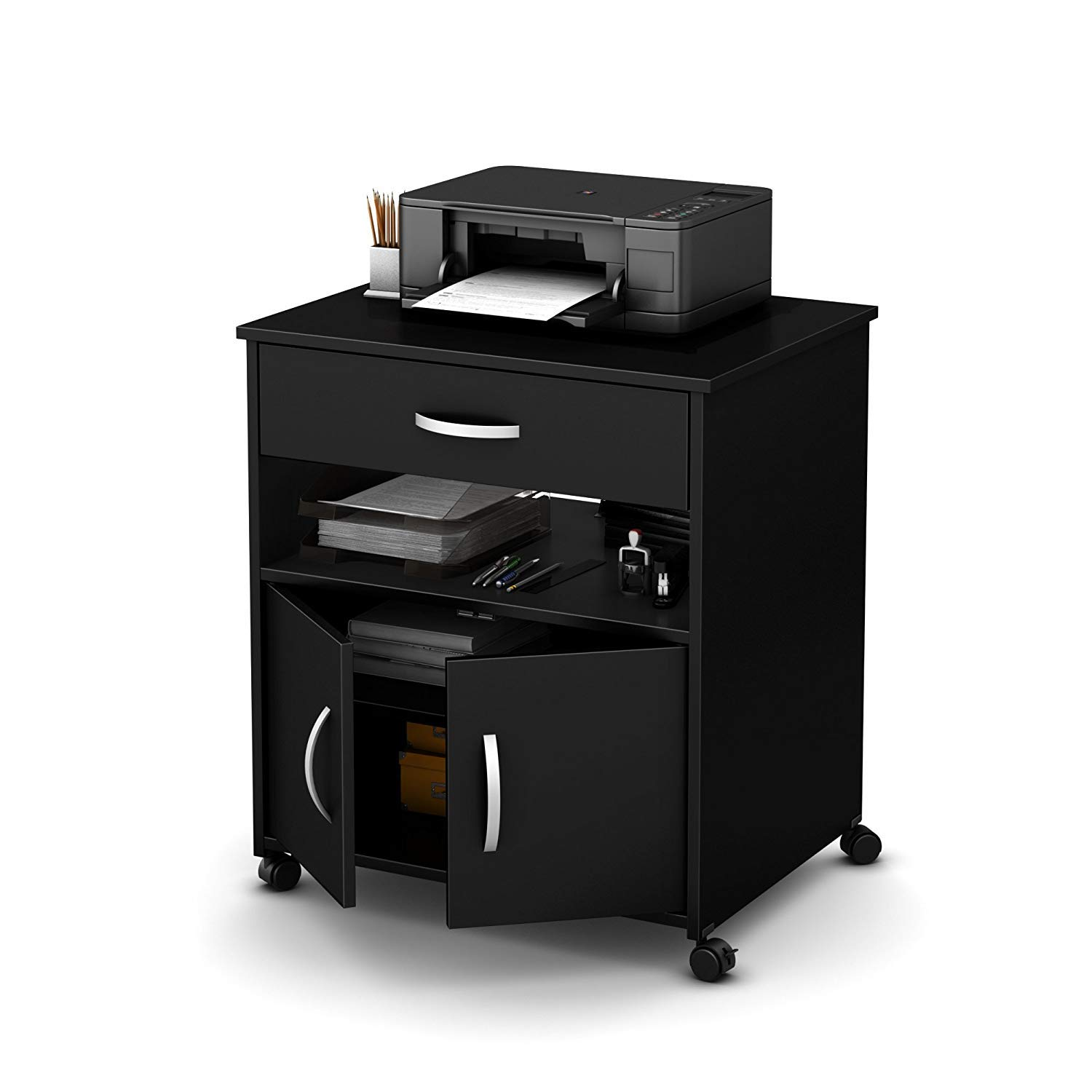 Mobile Wood Printer Stand, Printer Organizer with Storage with 2 Drawers and 1 Open Shelf, Rolling Printer Cart with Swivel Wheels for Your Home and Office,Black