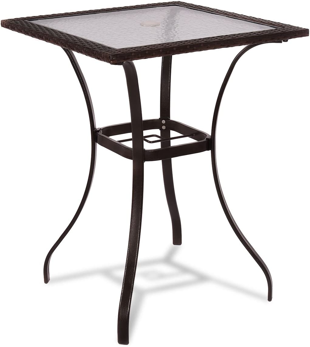 "TANGKULA Patio Table Outdoor Garden Balcony Poolside Lawn Glass Top Steel Frame All Weather Dining Bistro Table (Mix Brown Square 28.5""): Kitchen & Dining"