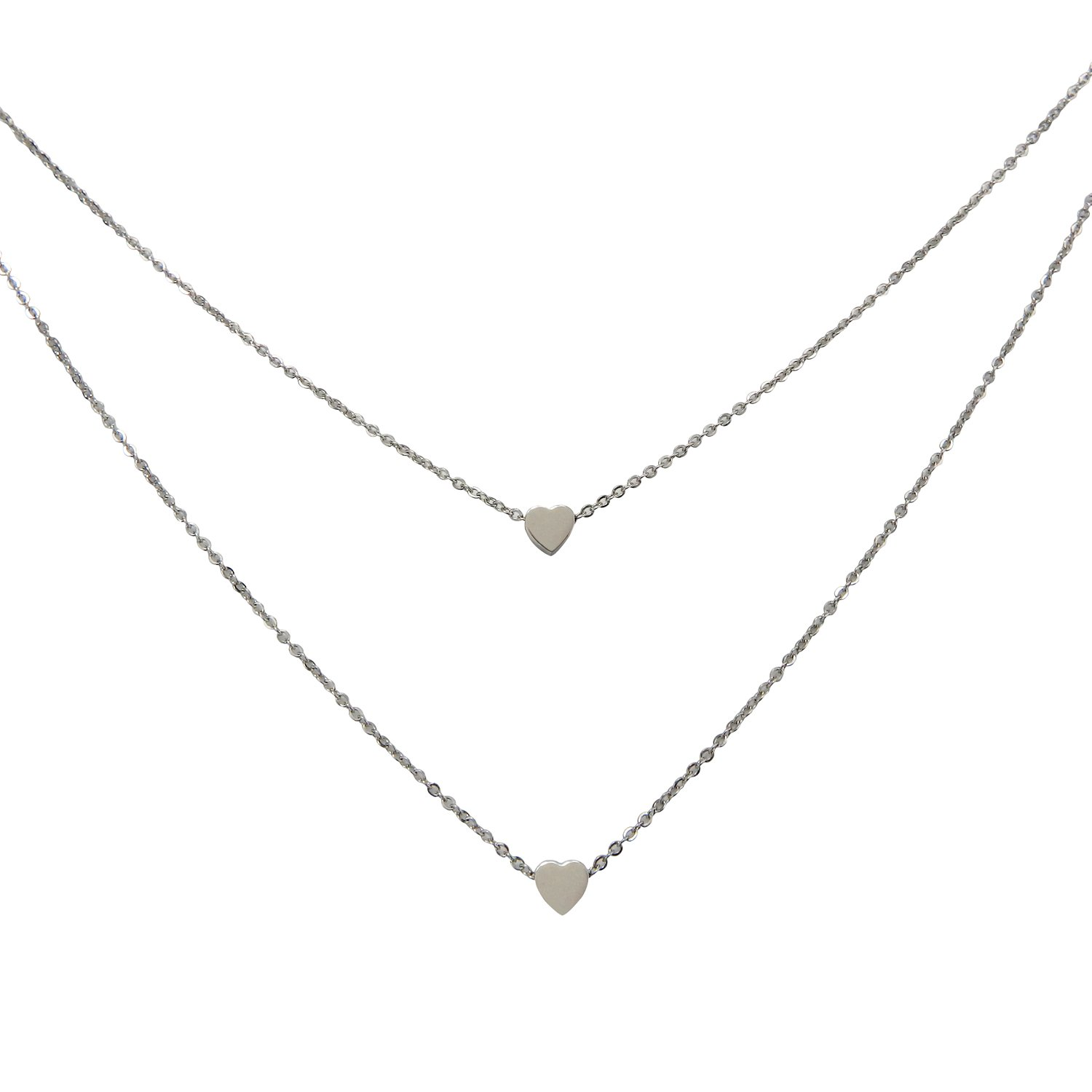RareLove Simple Small Heart Stainless Steel Lariat Double Layered Necklace For Women Girls