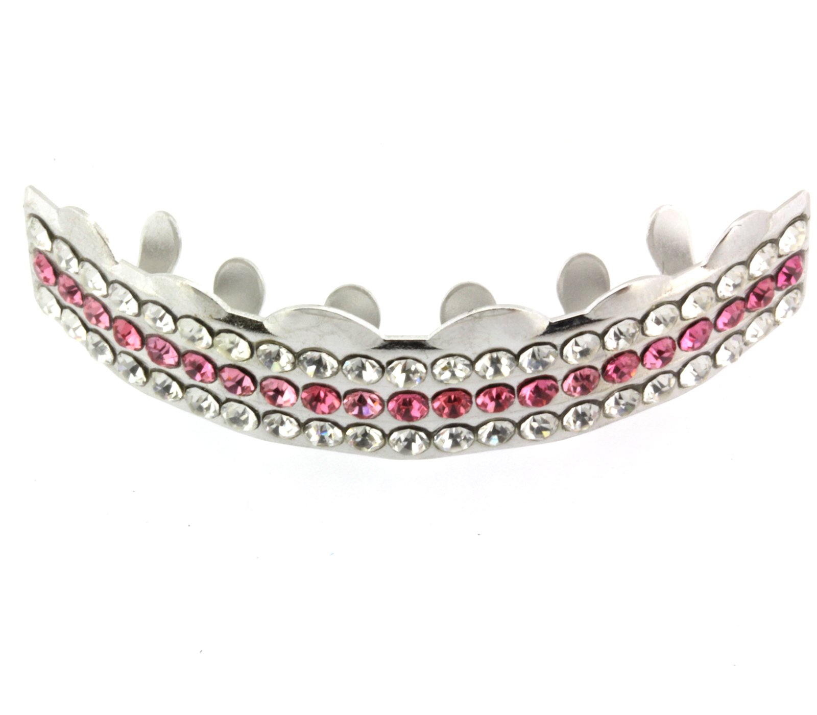 Hip Hop Top Silver Tone 3 Bling Rows Removeable Mouth Grillz Set Pink Lollipop