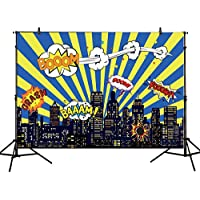 Allenjoy 7x5ft photography backdrop superhero birthday party hero super city building night baby shower boy children background prop photo studio photobooth