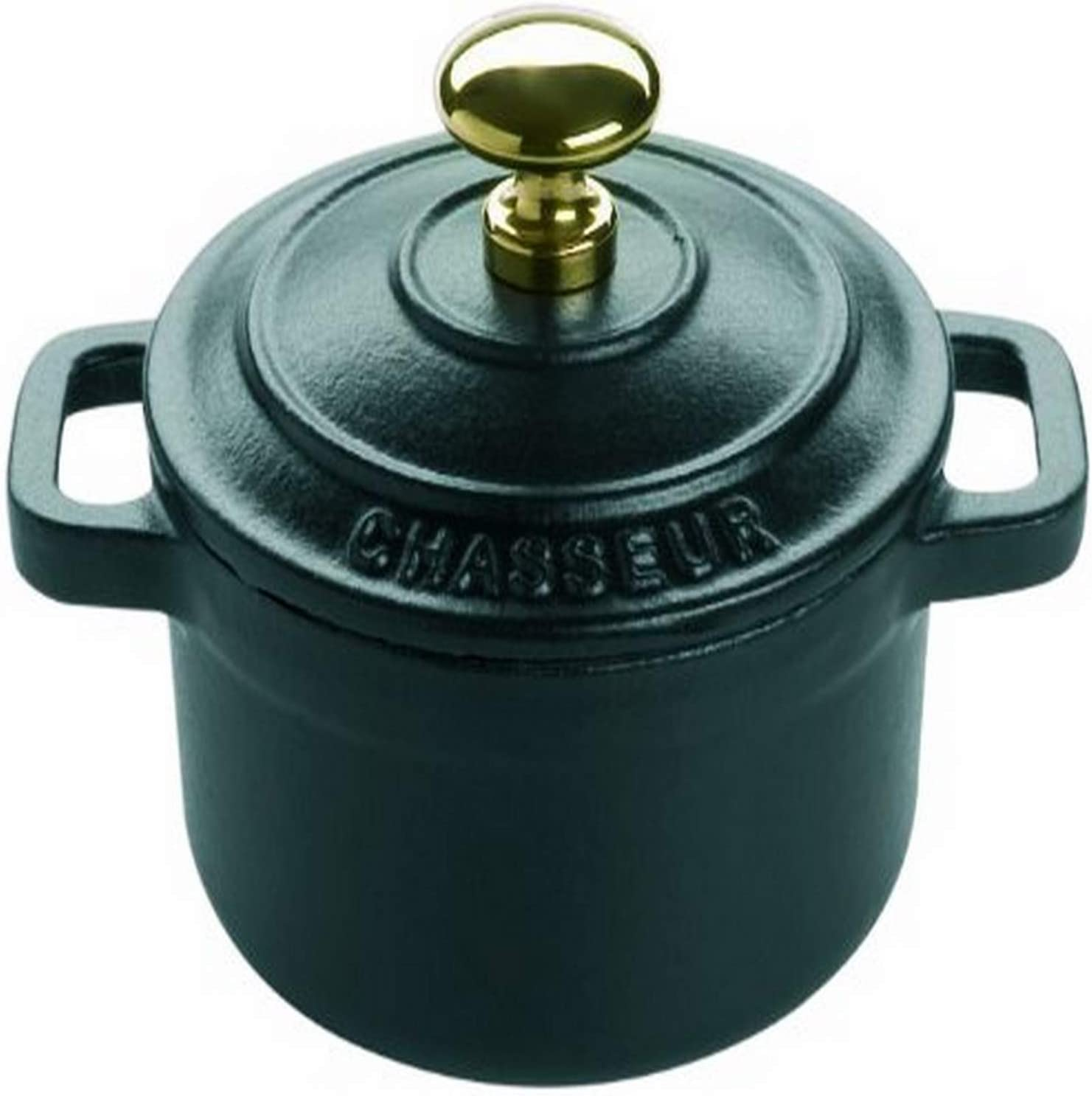Le Chasseur 071098 Enameled Cast Iron Round Casserole Pot with Lid, Black