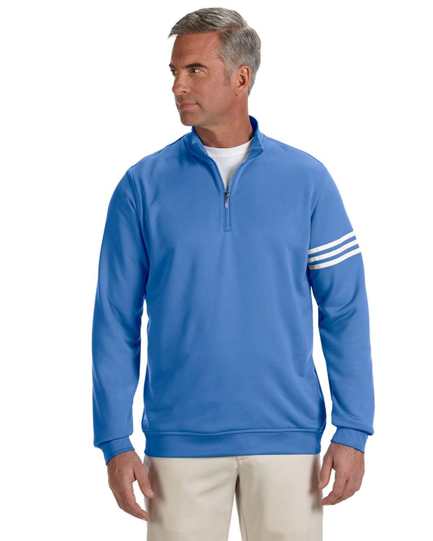 adidas Men's Climalite 3-Stripe 1/4 Zip, Oasis/White, Medium