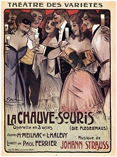 Operetta Fledermaus Die (Strauss Die Fledermaus Nfrench Lithograph Poster For Johann Strauss Operetta Die Fledermaus 1904 Poster Print by (18 x 24))