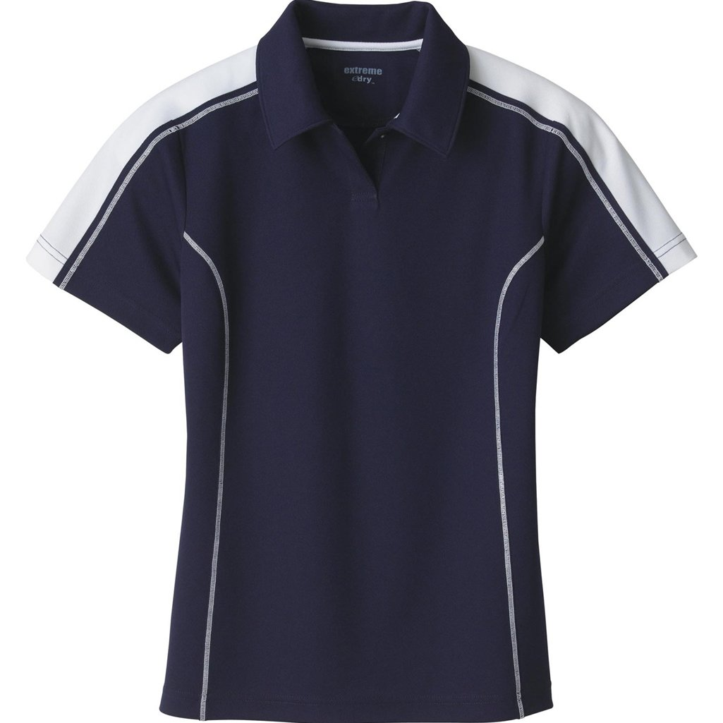 Ash City Ladies Extreme E Performance Pique Polo Shirt (Small, Classic Navy/White) by Ash City Apparel