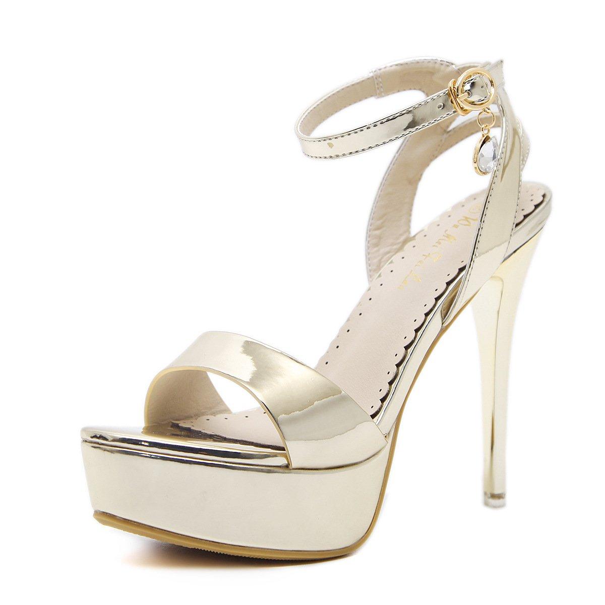 ZHZNVX Sandalen Sandalen Sandalen Weiblichen Walk Sommer Neu Sommer High Heels mit Dünnen Sexy Nachtleben der High-Heel Schuhe Gold 36 8ce33a