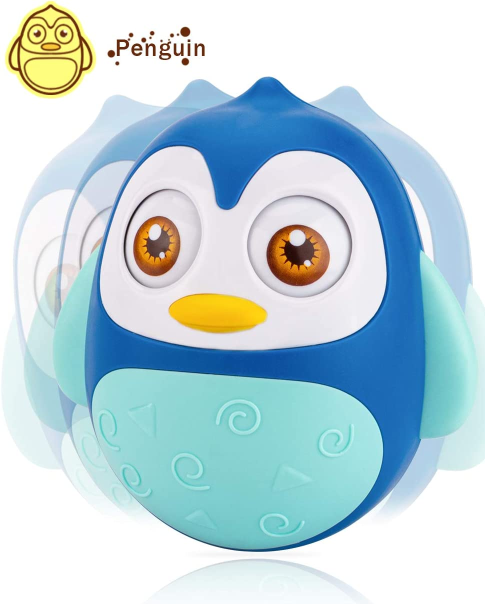 Tummy Time Toy UNIH Roly Poly Baby Toys 6 to 12 Months Developmental Penguin Tumbler Wobbler for Infant Boy Girl Gifts Blue