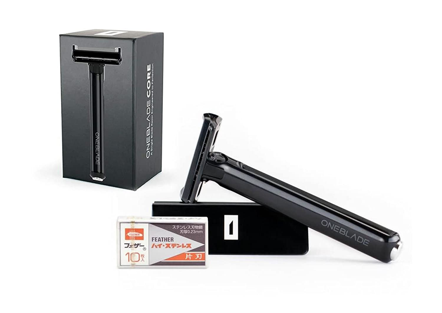 OneBlade CORE Set - Optimal Fixed Pivoting Head Safety Razor, Engineer-grade Tritan Polymer with Razor Display Stand and 10 Feather Hi-Stainless Blades
