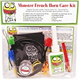 Monster French Horn Care and Cleaning Kit | Rotor Valve Oil w/Easy-To-Use Needle Applicator Tip, Slide Grease, and Cleaning Brushes. Everything You Need to Take Care of Your French Horn