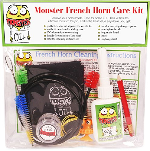 Monster French Horn Care and Cleaning Kit | Rotor Valve Oil w/Easy-To-Use Needle Applicator Tip, Slide Grease, and Cleaning Brushes. Everything You Need to Take Care of Your French Horn by Monster Oil
