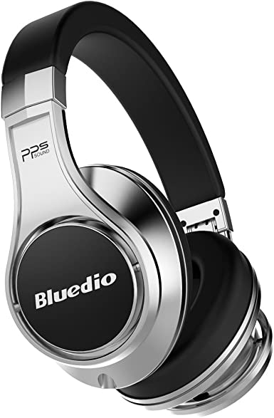 Bluedio U (UFO) Premium High End Wireless Bluetooth Headphones with Mic (Silver and Black) Over-Ear Headphones at amazon