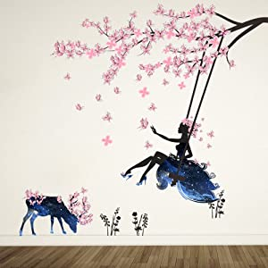 ufengke Girl on Tree Swing & Moose Silhouette Wall Art Stickers with Pink Butterflies Decorative Removable DIY Vinyl Wall Decals Living Room, Bedroom Mural