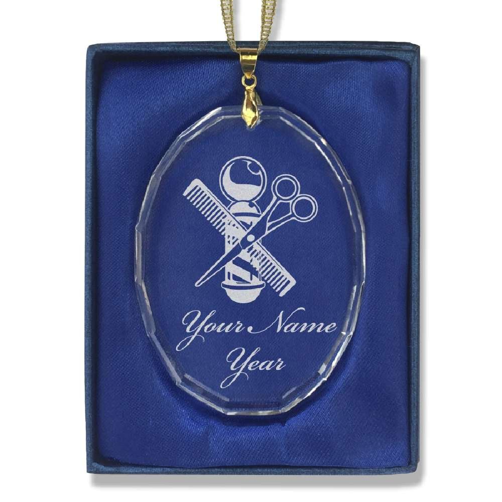 Oval Crystal Christmas Ornament - Barber Shop Pole - Personalized Engraving Included