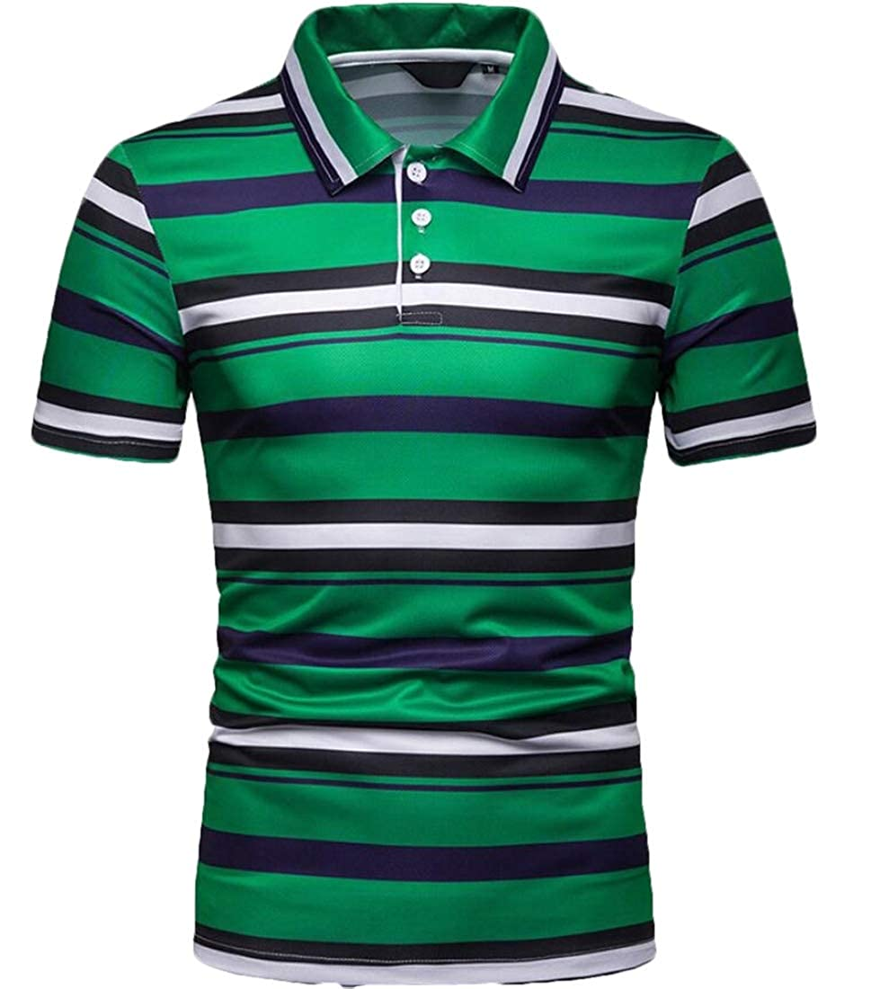 Tymhgt Mens Short Sleeve Stripe Slim Fit Lapel Leisure T-Shirt Polo Shirt