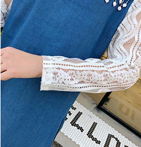 Vestido mujeres la mezclilla de de vaqueros los de primavera Falda vestido de las Scothen fiesta la de de de Mini mujer pantalones de blusa encaje la Jeans de Azul Jeans Jeans túnica Camisa 7xvngxqt