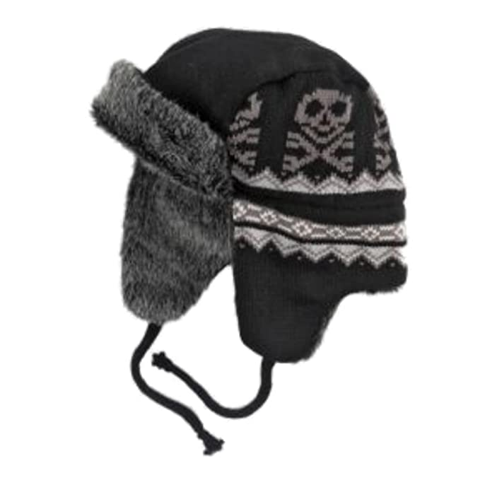 b4abef591a2 Image Unavailable. Image not available for. Color  Ben Berger Boys Black Skull  Trapper Hat ...