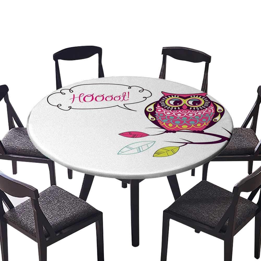 モダン シンプル ラウンド テーブルクロス 木の枝 水平ライン 友情 イベント テーマ アート キッチン (エラスティック エッジ) 47.5