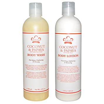 Nubian Heritage Coconut & Papaya Body Wash and Body Lotion Bundle, With Coconut Oil,