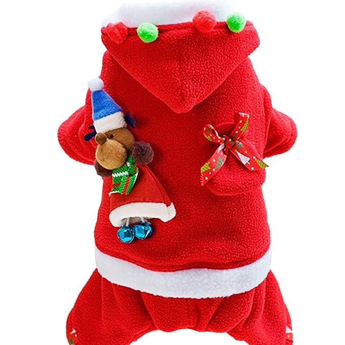 Zilee Ropa para Perros Navidad Disfraz Abrigo Mascota - Invierno Ropa Perros Pequeños Accesorios Juguetes para Perros Xmas Fiesta Chaqueta Santa Cosplay: ...