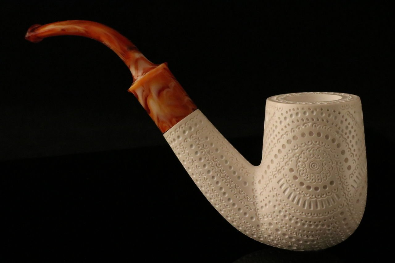 Oom Paul - Meerschaum Pipe - Hand Carved from the Best Quality BLOCK Meerschaum - Comes in a CASE - NEW