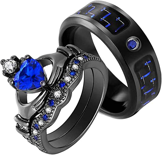 conjuntos de anillos de pareja de corazón de ac Anillos de promesa para parejas