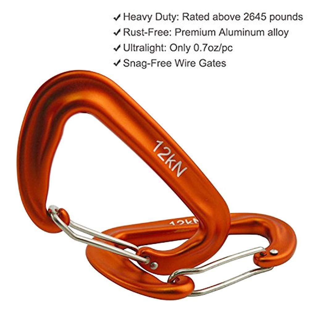 HLWSUPER Carabiners, 12 kN Aluminum Wire Gate Carabiners 3 Pack- Heavy  Duty, 2,645-pound Rating for ...
