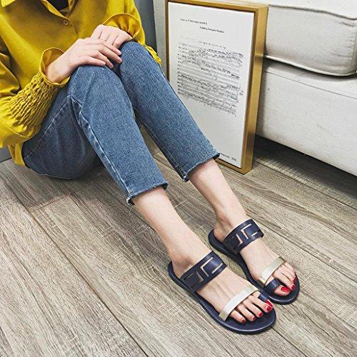 Sandale Été SANFASHION Bleu Chaussures Nu Décontractée Pied Plate Printemps Simple Femme Élégant OxFZxfqp