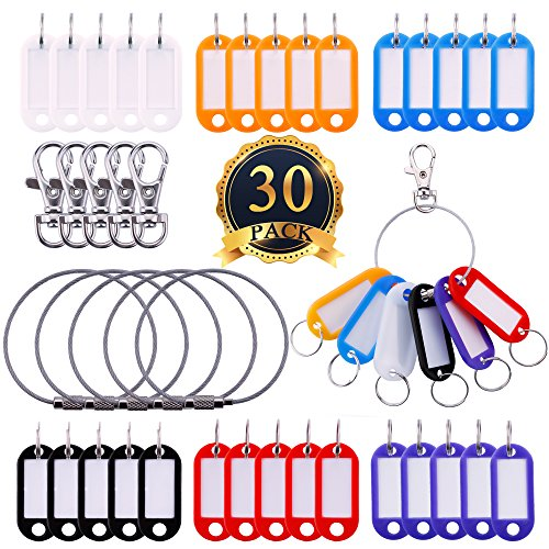 SUBANG 30 Pack Key Rings ID Tags Luggage Tags with 5 Pack Wire Keychains and 5 Pack Lobster Claw Clasps