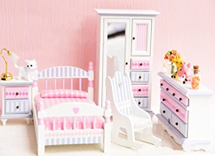 Amazon Com Bestlee 1 12 Scale Luxurious Girl S Wooden Pink And Blue