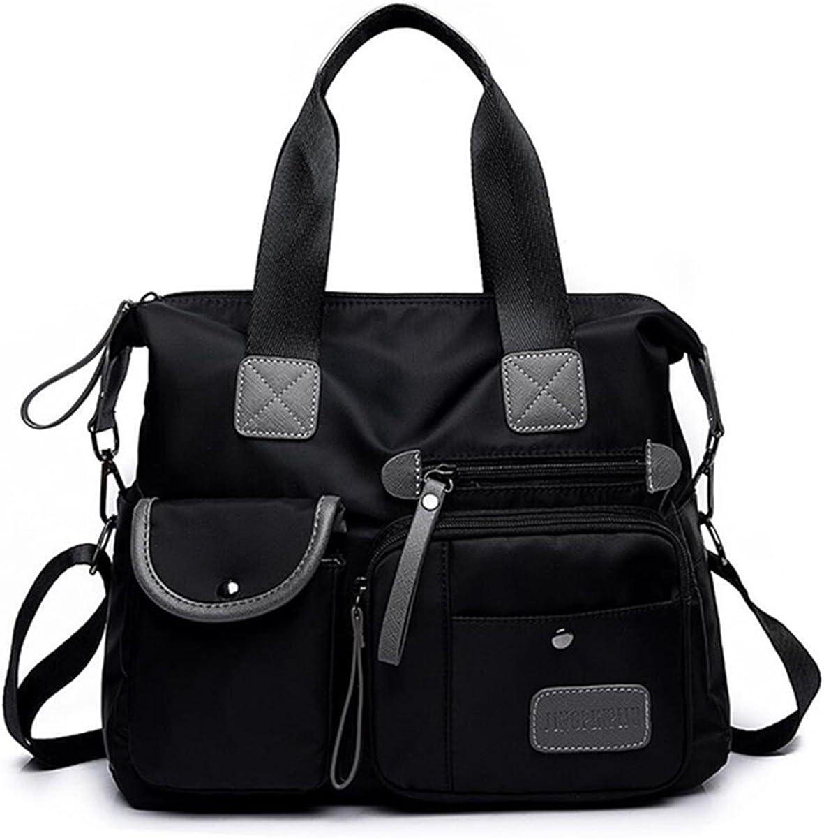Women's Lightweight Floral Top Handle Handbag Multi-pockets Nylon Work Totes Water Resistant Travel Crossbody Shoulder Bag