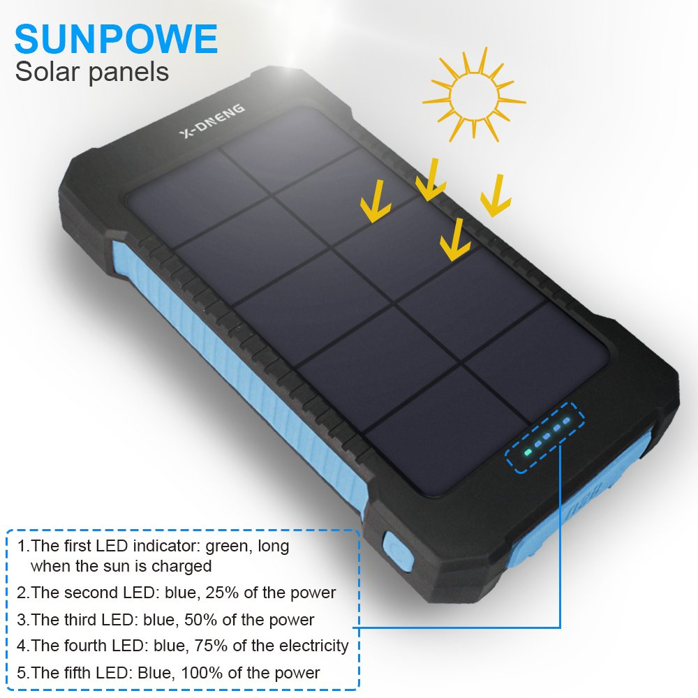 Solar Power Bank,X-DNENG Solar Chargers 10000mAh Dual USB Solar Powered Charger Solar Panel Outdoor Solar Charger with Sunpower Panel for iPhone 7/6s/Plus,iPad Pro/Air 2/Mini,Samsung,LG,HTC and More