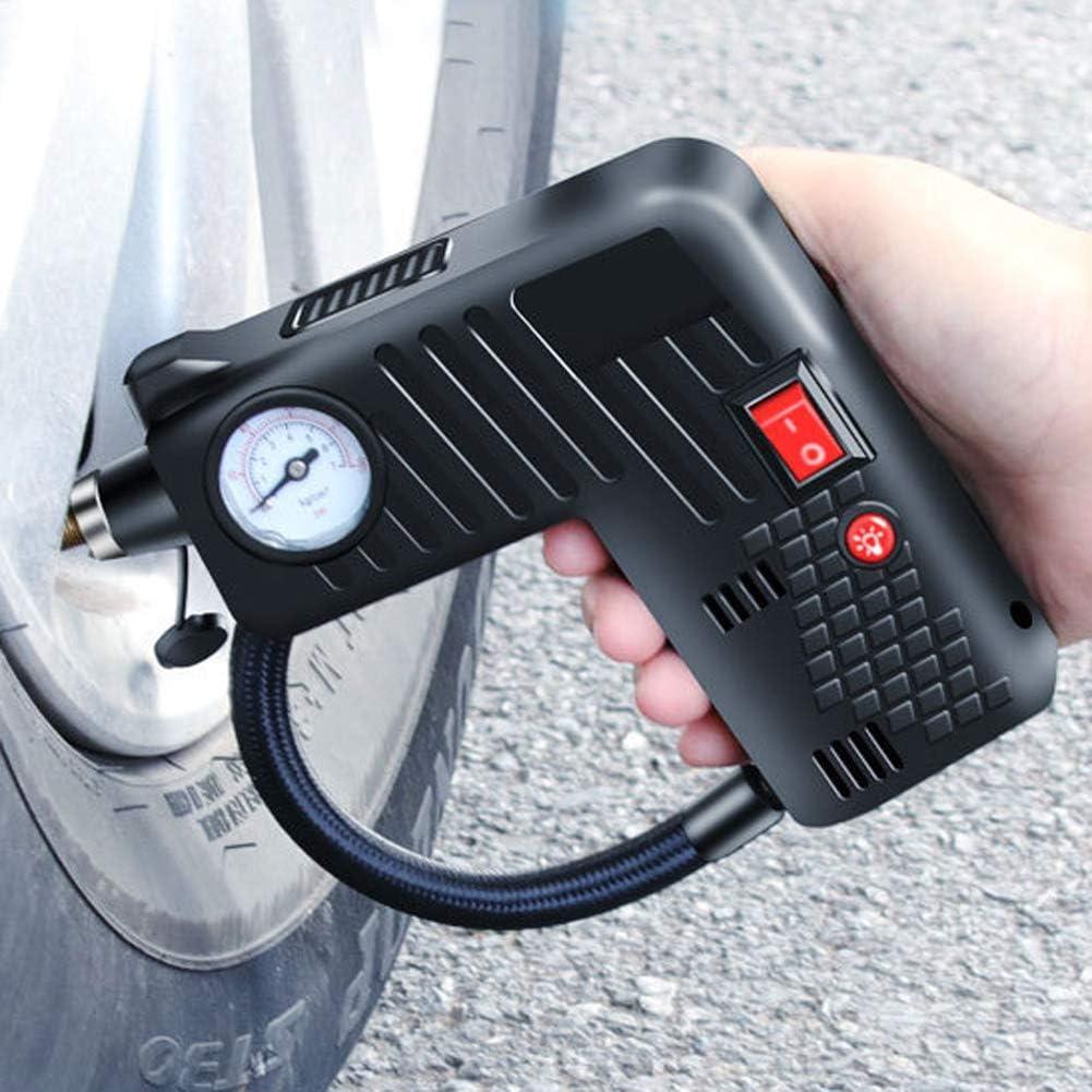 RENNICOCO 12v gonfleur de Pneu de Voiture Portable Pneu Tenu dans la Main Compresseur dair mont/é sur v/éhicule Pompe /à air Compresseur dair de Secours Chargeur de Voiture