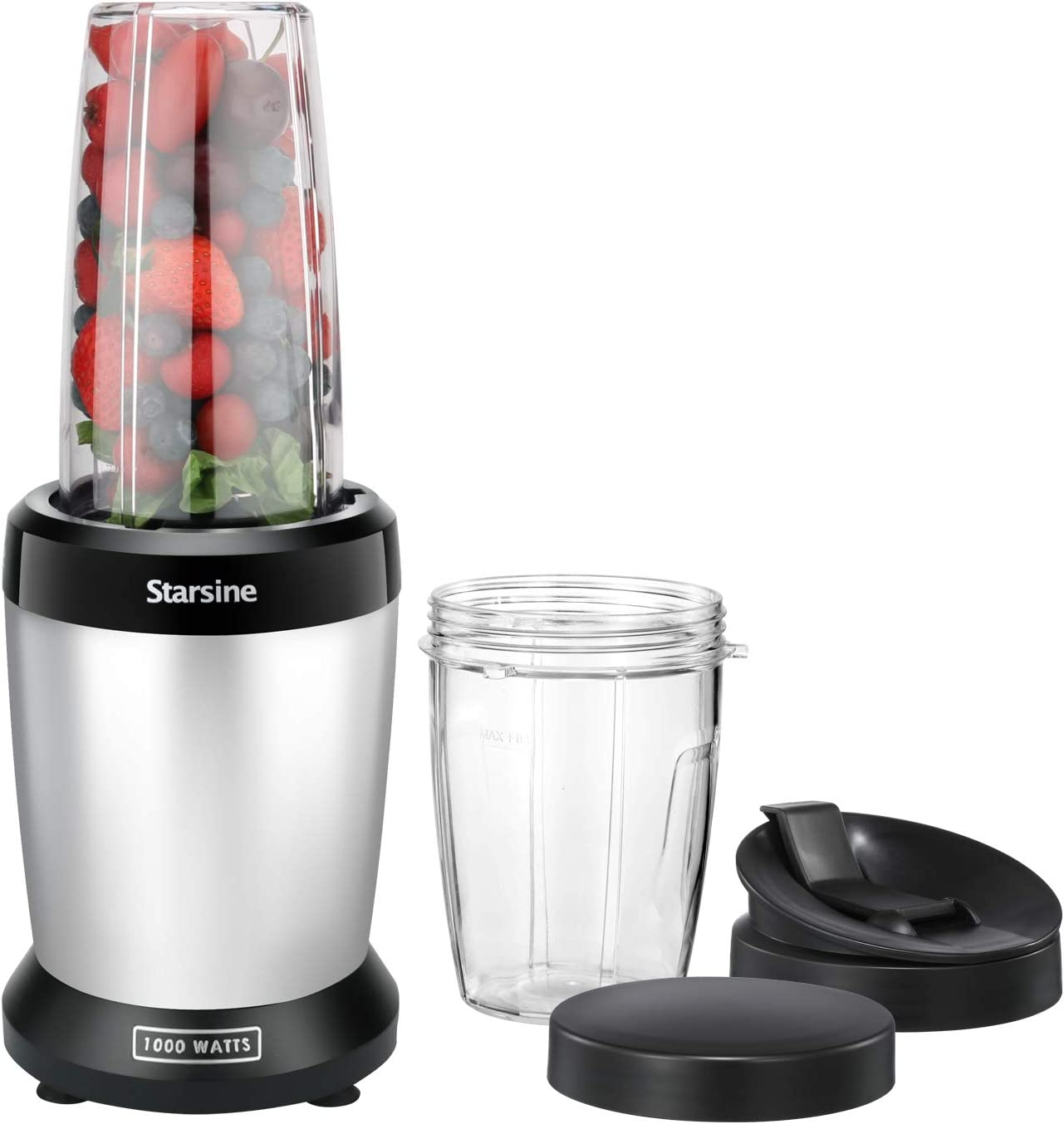 Starsine Personal Blender for Shakes and Smoothies, 1000 Watts,with 27oz and 17oz Tritan material cups, BPA free, Black/Silver