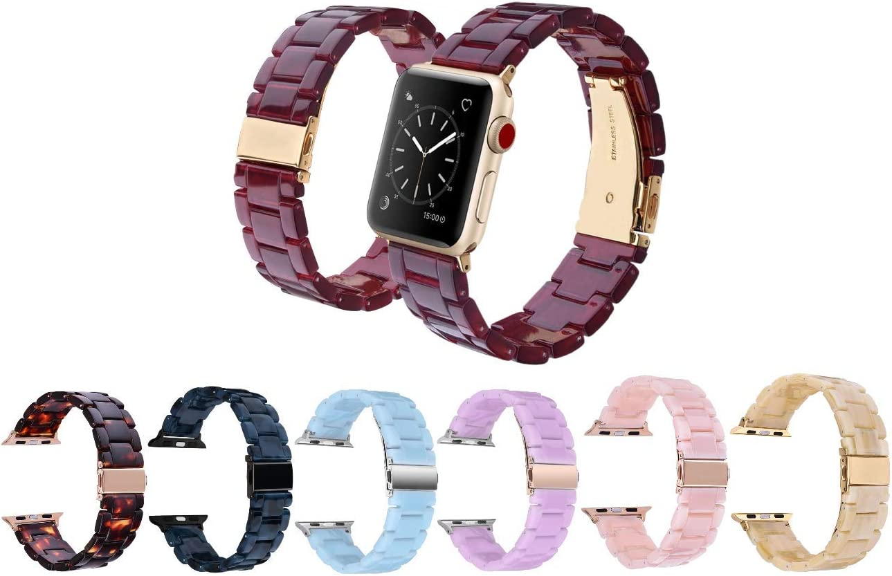 Mobile Advance Resin Band Bracelet for Apple Watch Series 5, 4, 3, 2, 1 (Burgundy, 38mm/40mm)